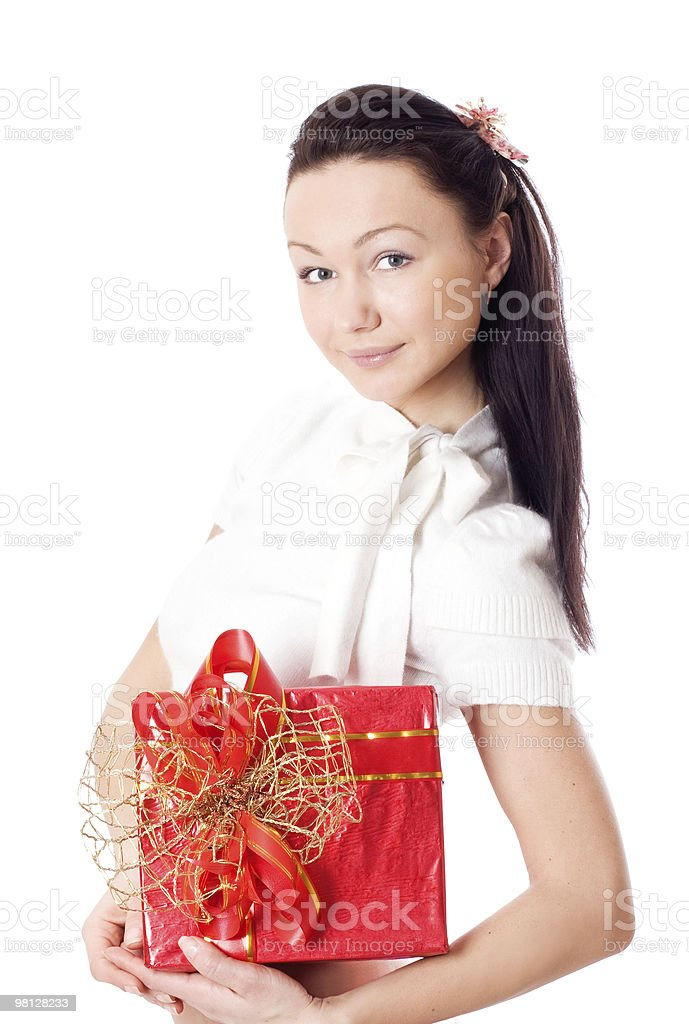 행복함 여자 쥠 a 선물함 royalty-free 스톡 사진
