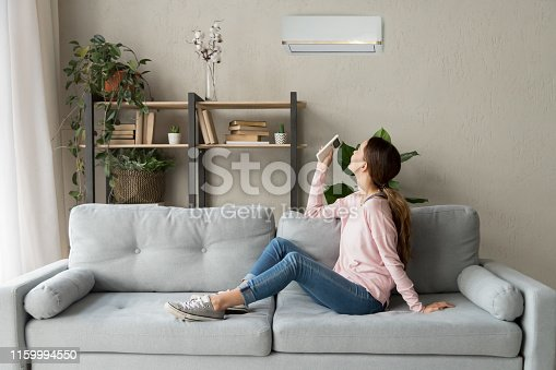 istock Happy woman holding cooler system remote controller enjoy fresh air 1159994550