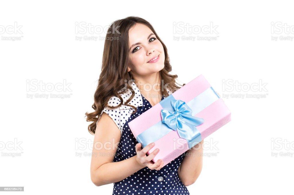幸福的女人,拿著禮品盒,分離。 免版稅 stock photo