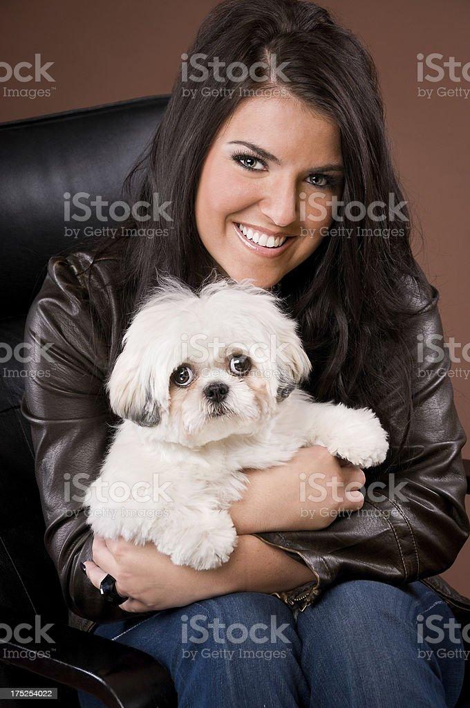 Happy Woman Holding Shih Tzu Poodle Dog royalty-free stock photo
