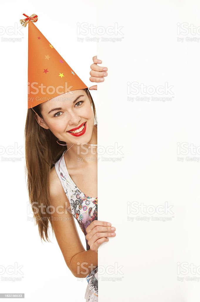 Happy woman holding signboard royalty-free stock photo