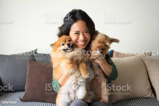 Happy woman holding yorkie and spitz dogs on sofa picture id923578338?b=1&k=6&m=923578338&s=612x612&h=vbwh94cjkug58 eva78smharpvjzfqcpxrfxwsikib0=
