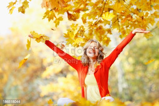 Happy Woman In Autumn Park Stock Photo & More Pictures of Adult