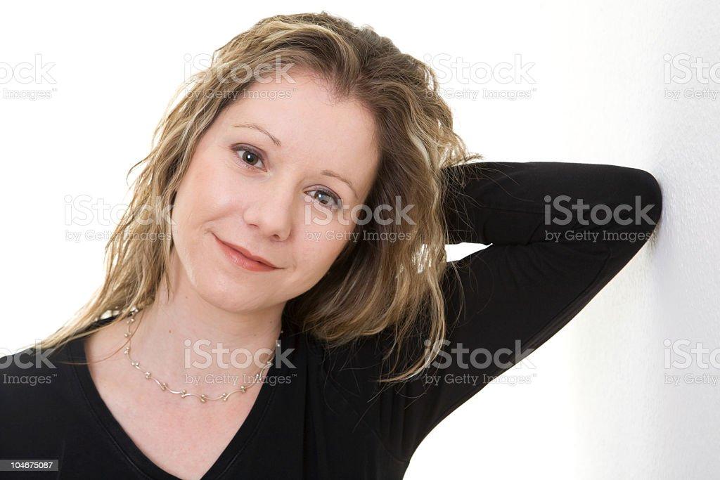 Happy Woman in Black Top stock photo