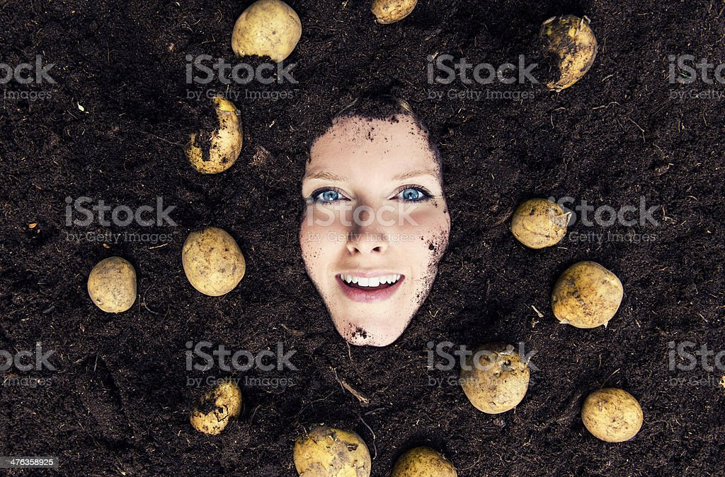 Happy woman in dirt with potatoes stock photo