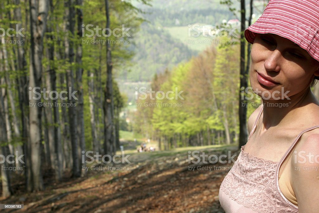 happy woman in forest - Royalty-free Adult Stock Photo