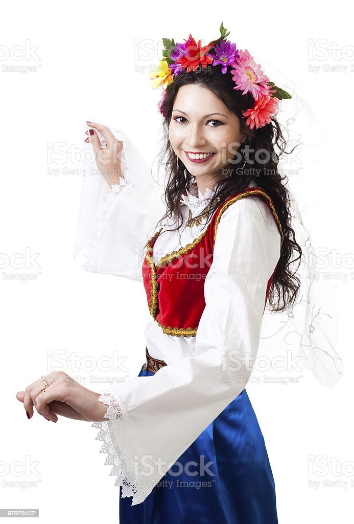 Happy woman in Greek national costume royalty-free stock photo