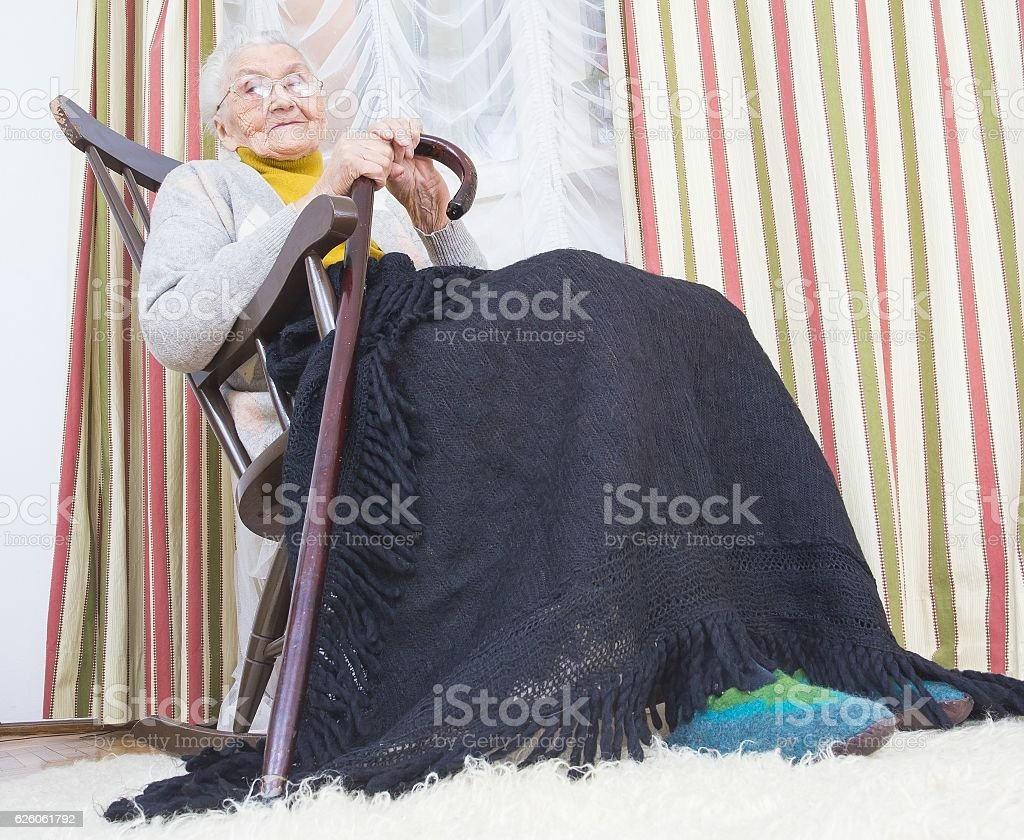 Happy woman in nursing home stock photo