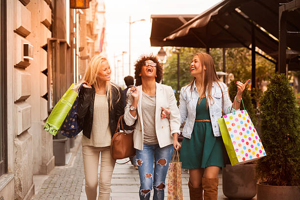 happy woman in shopping - spending money stock photos and pictures