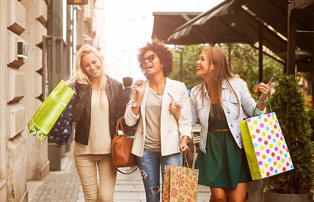 happy woman in shopping - shopping stock photos and pictures