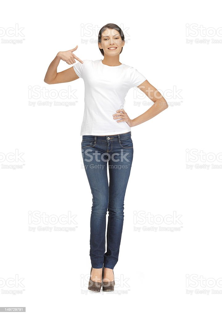 happy woman in white t-shirt pointing finger to herself stock photo