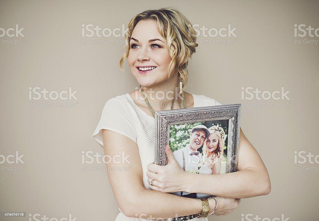 Happy woman indoors stock photo