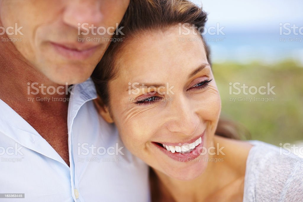 Happy woman leaning on man royalty-free stock photo