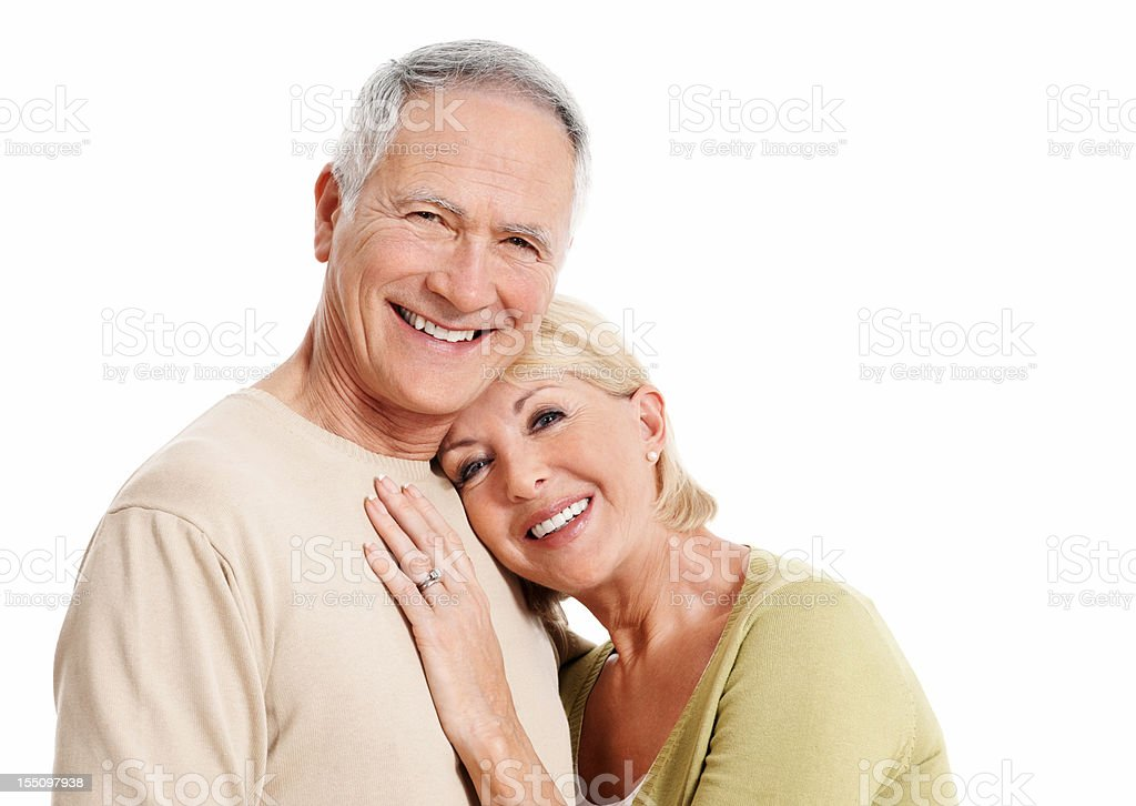 Happy woman leaning on mature man's chest royalty-free stock photo