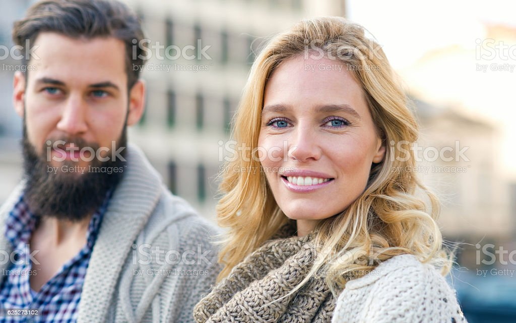 Happy woman looking at camera. stock photo