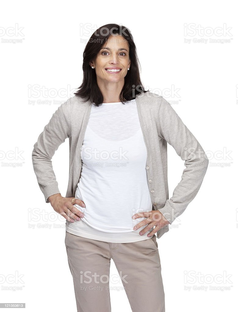 Happy woman looking confident against white background royalty-free stock photo