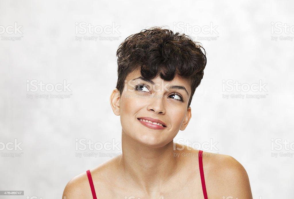 Happy Woman Looks Up royalty-free stock photo