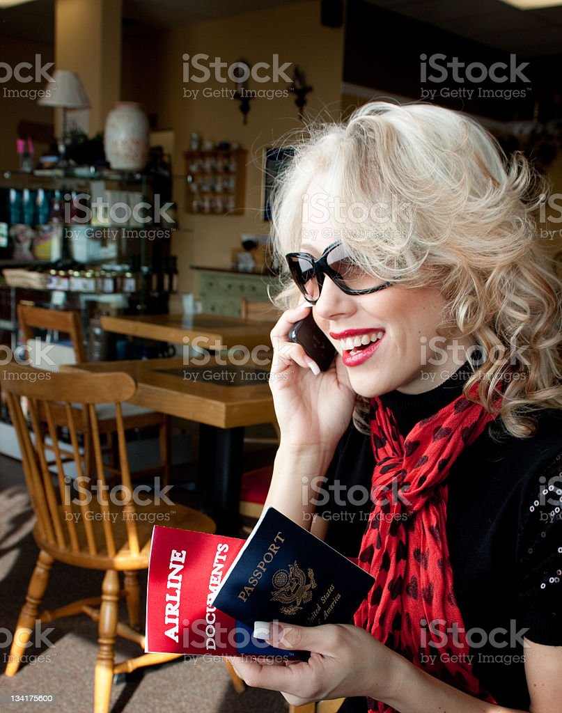 Happy woman on a trip royalty-free stock photo