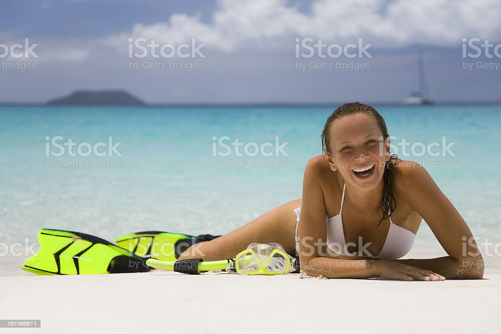 happy woman on the Caribbean beach royalty-free stock photo