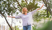 happy woman open arms with freedom relax