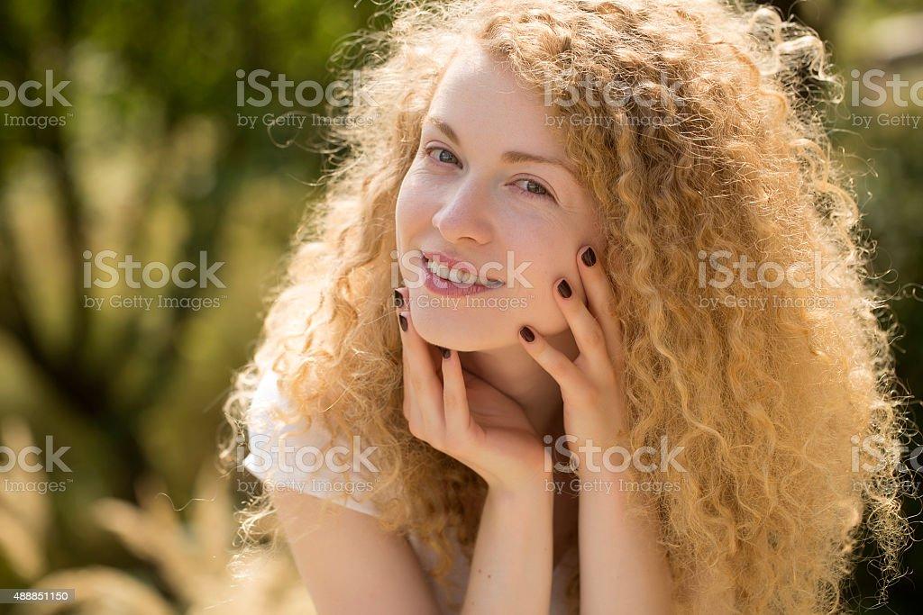 Happy woman outdoor stock photo