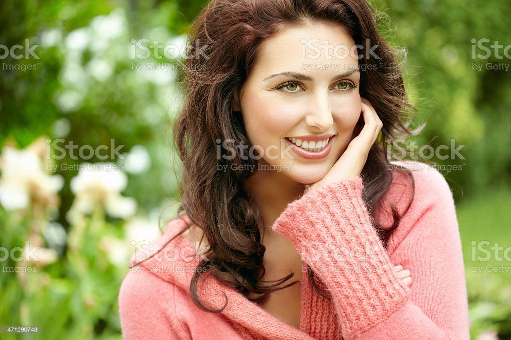 Happy Woman Outdoors stock photo