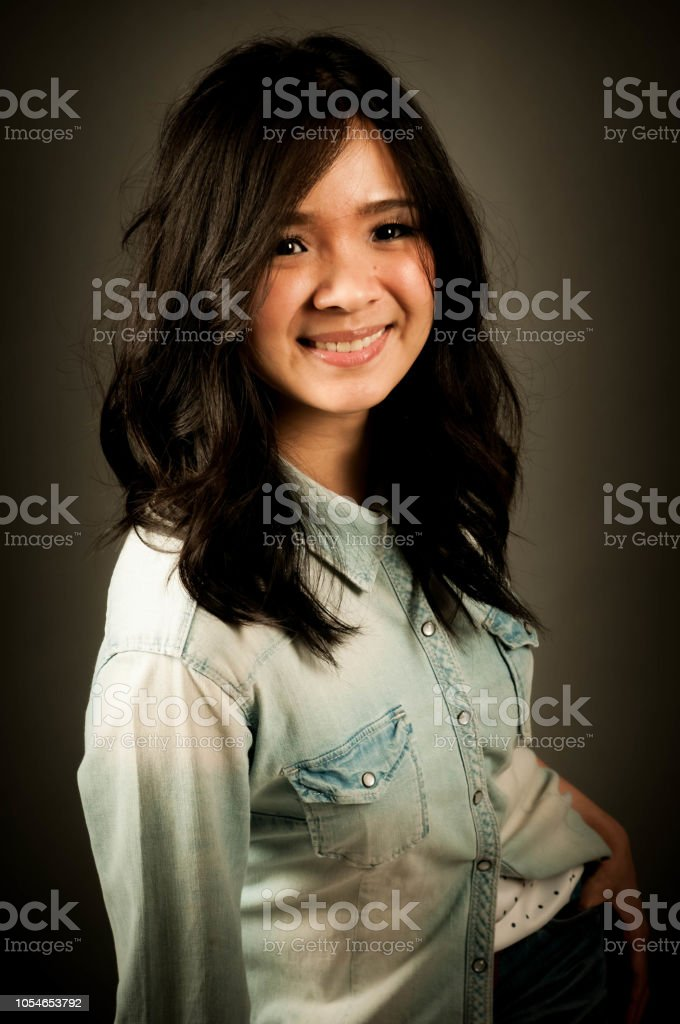 Happy Woman Photoshoot Portrait Photography In Studio Dark Background Smiling Asian Woman Stock Photo Download Image Now Istock