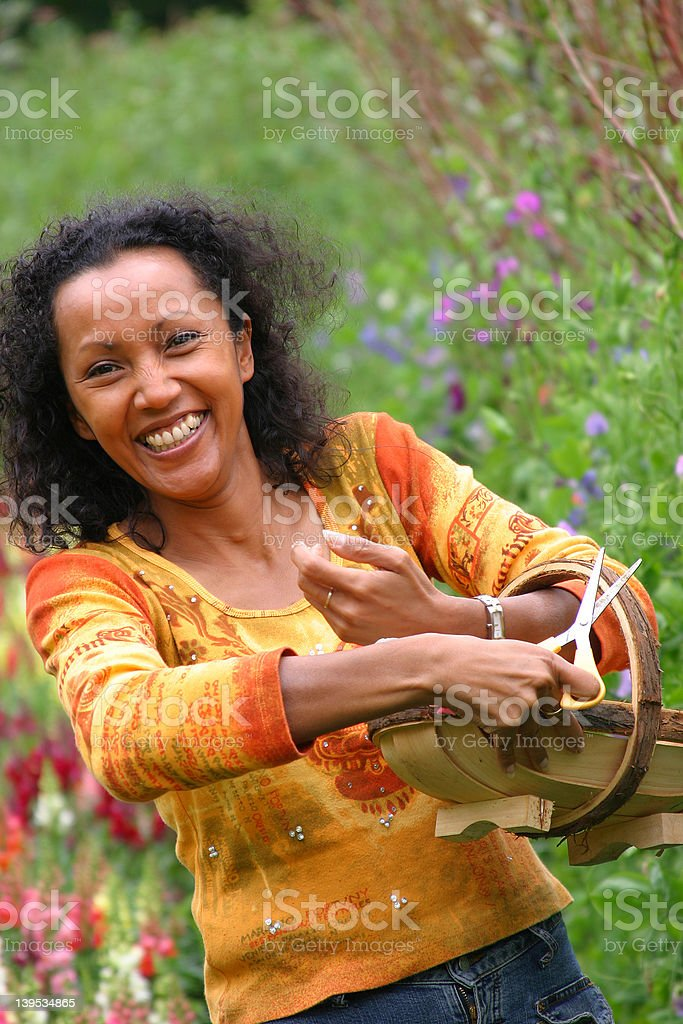 Happy woman picking flowers royalty-free stock photo