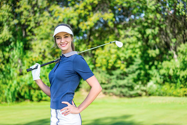 happy woman - female golfer stock photos and pictures