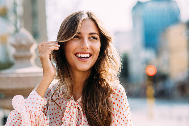 happy woman - toothy smile stock photos and pictures