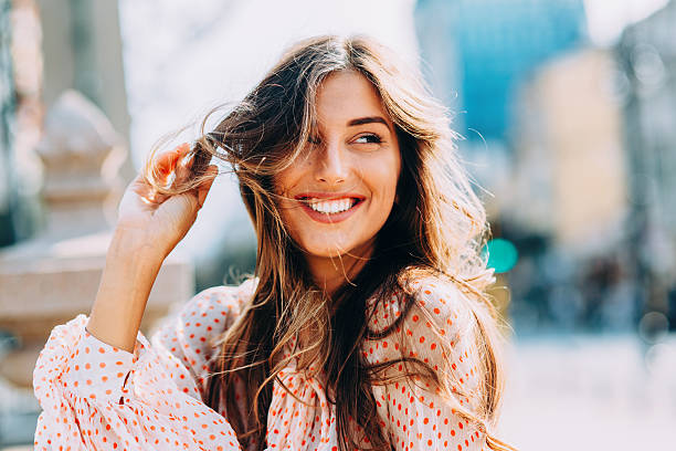 happy woman - human hair stock photos and pictures