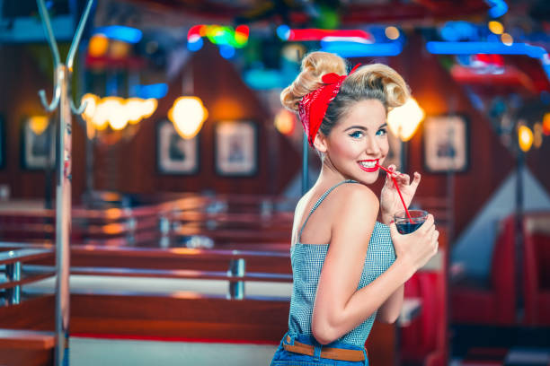 happy woman - pin up girl stock pictures, royalty-free photos & images