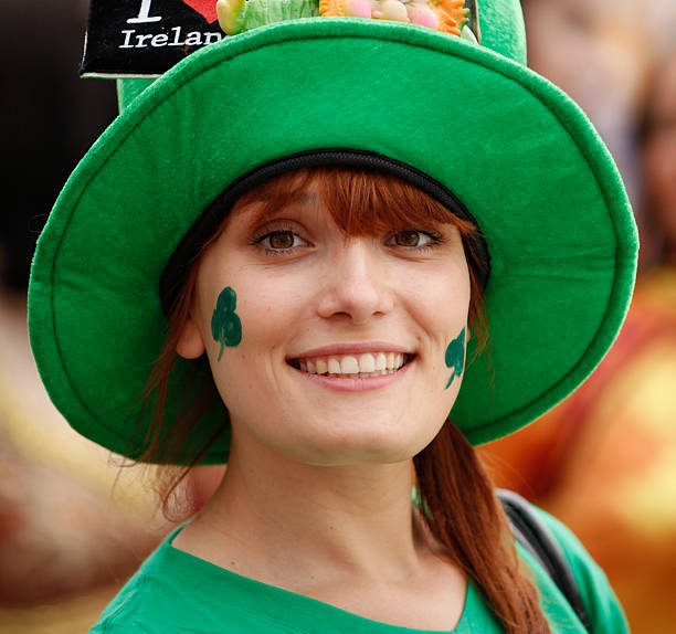 Happy woman portrait (Saint Patrick's Day) stock photo