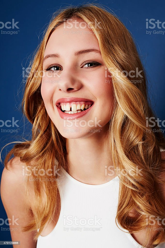 Happy woman portrait stock photo