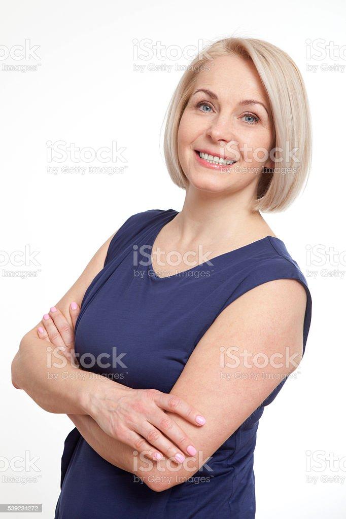 Retrato de mujer feliz. Éxito. Aislado sobre fondo blanco. foto de stock libre de derechos
