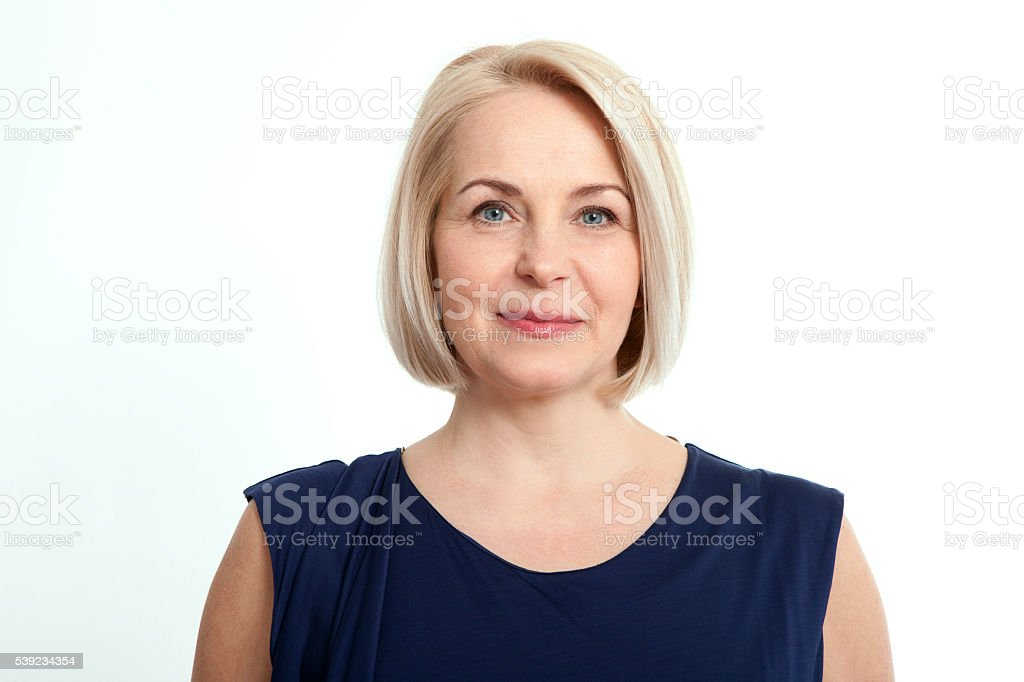 Happy woman portrait. Success. Isolated over white background. royalty-free stock photo
