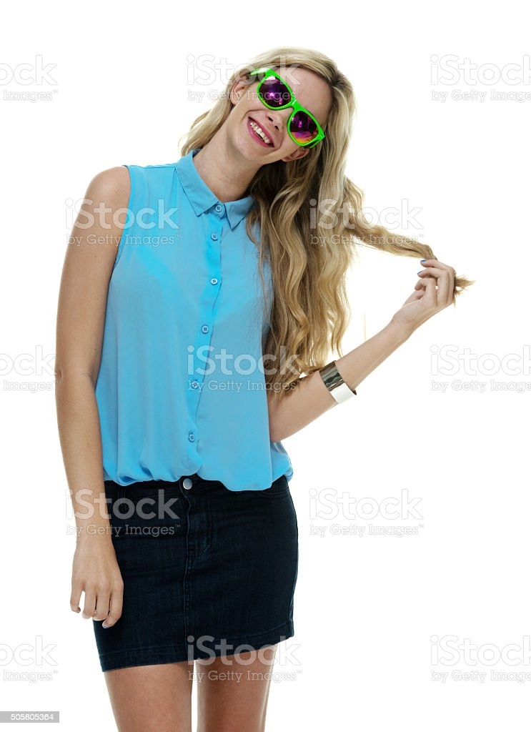 Happy woman posing stock photo