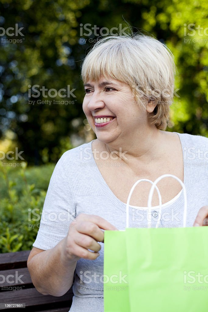 Happy Woman Receives A Present royalty-free stock photo