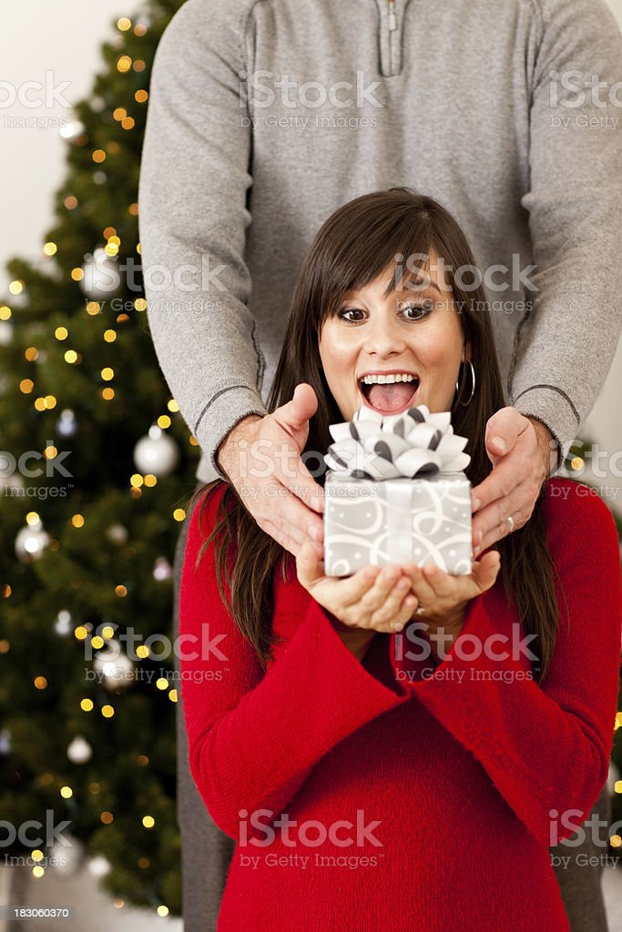 Happy Woman Receiving Christmas Gift from Husband by Tree royalty-free stock photo