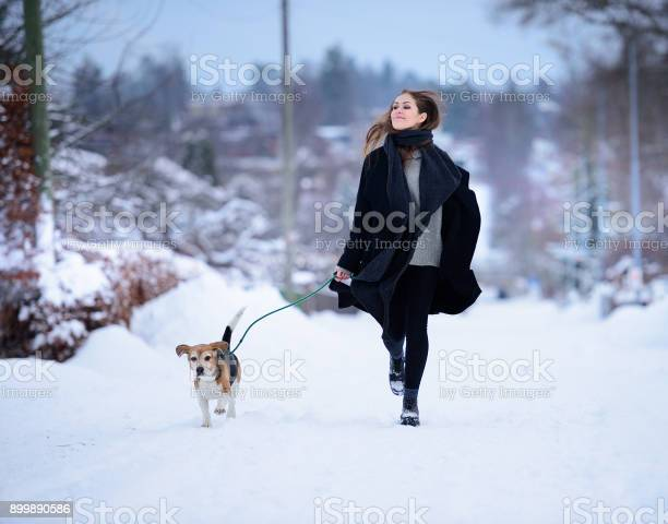 Happy woman running with beagle dog on winter street picture id899890586?b=1&k=6&m=899890586&s=612x612&h=5osuie1dyubbvdgeqorbcpptad9eb1 xdatm237ciiw=