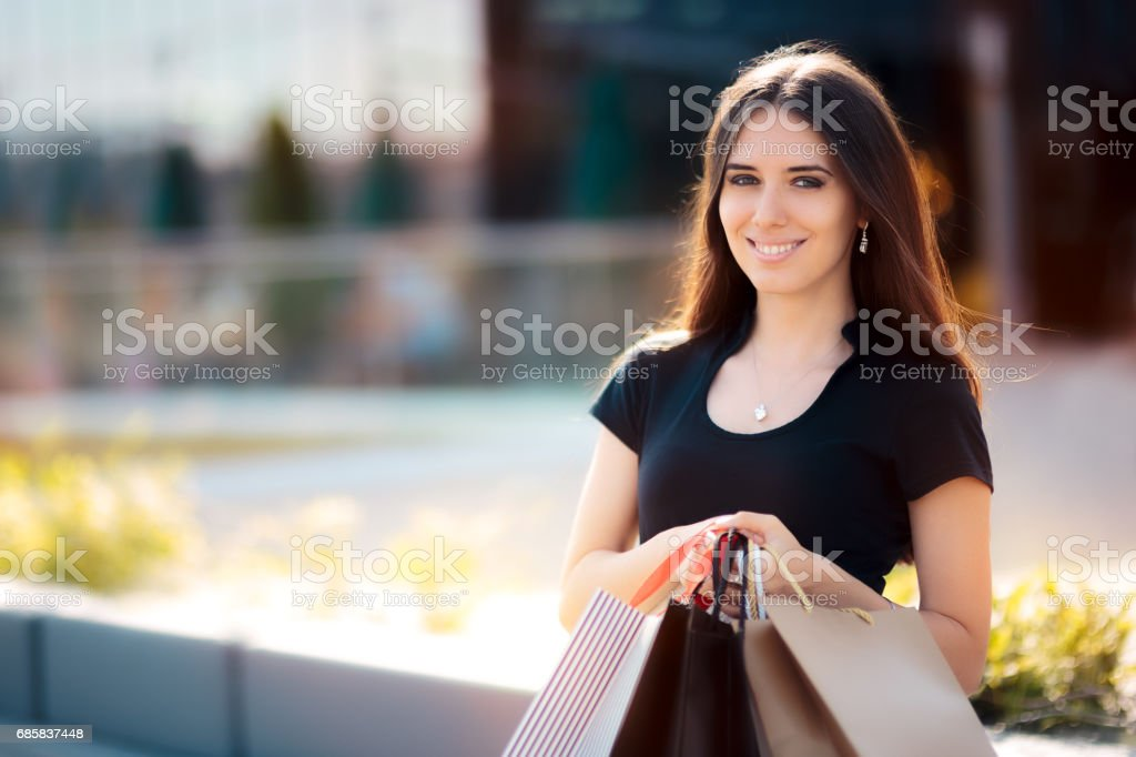 Happy Woman Shopping on Big Summer Sale stock photo