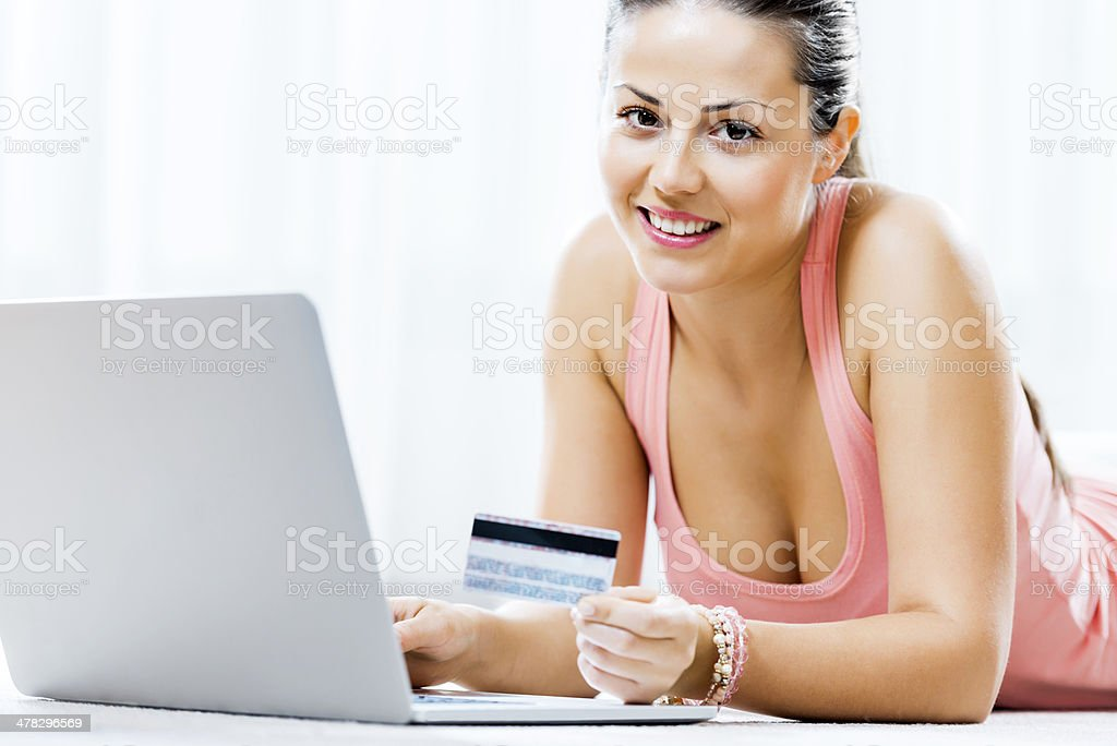 Happy woman shopping online. royalty-free stock photo