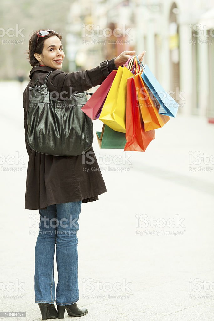 Happy woman shopping royalty-free stock photo