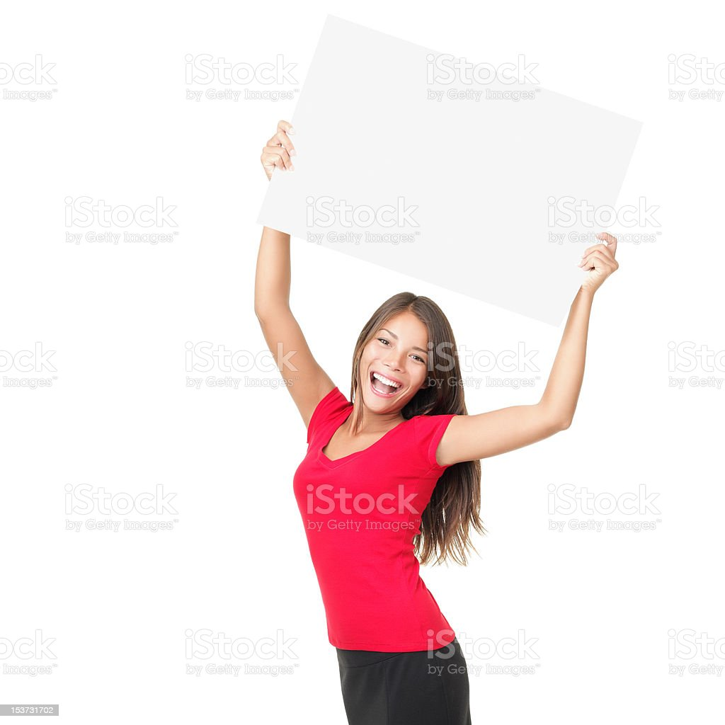 Happy woman showing sign stock photo