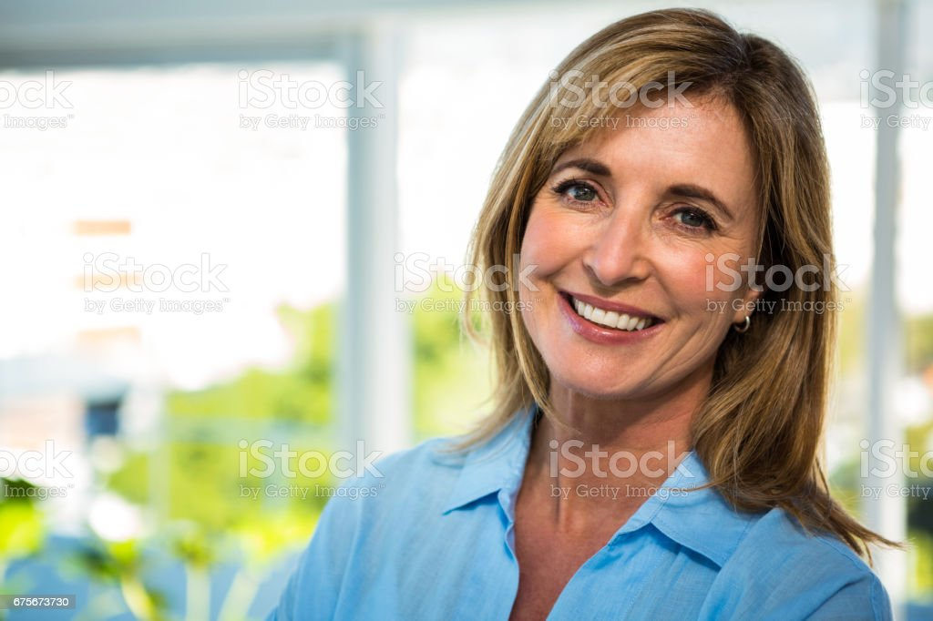 happy woman smiling stock photo
