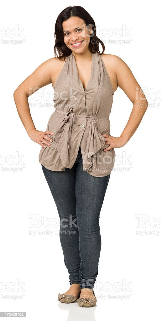 Happy Woman Standing Full Length Portrait royalty-free stock photo