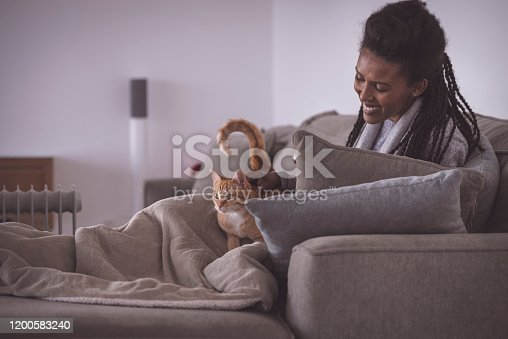 Happy woman stroking a cute ginger cat, sitting on a bed couch with a warm blanket against the heater at the living room in the winter season.