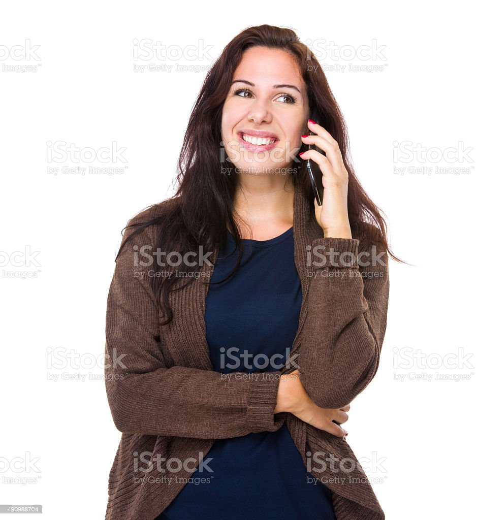 Happy woman talk to phone stock photo