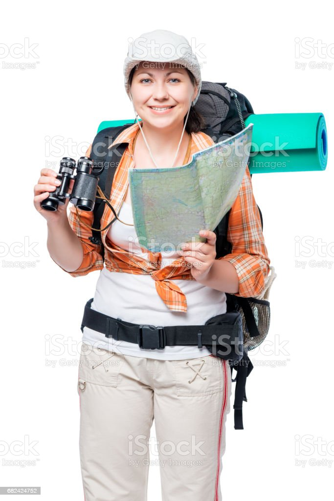 happy woman tourist hiking with a map on a white background royalty-free stock photo
