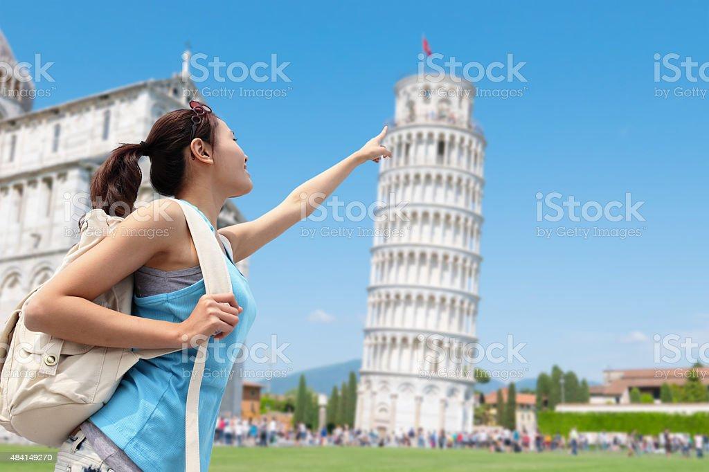 Happy woman travel in Italy stock photo